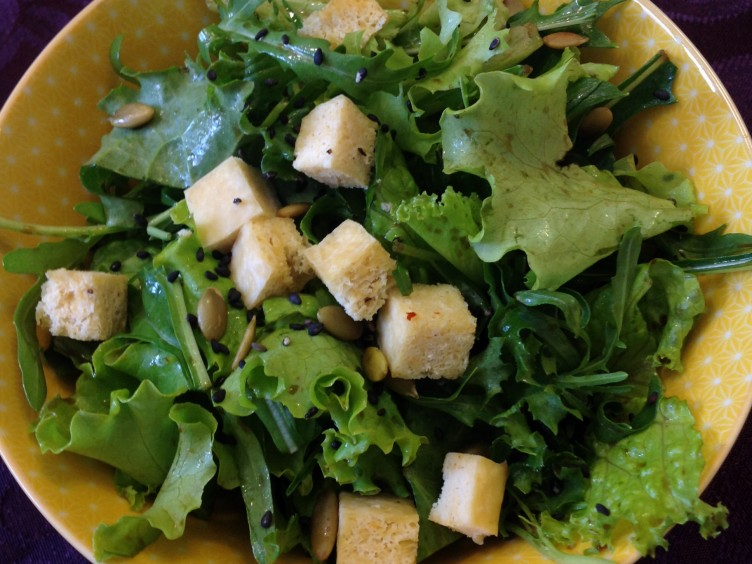 bitter green salad with baked tofu